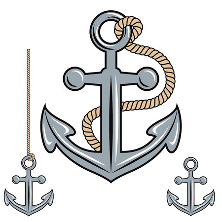 Anchor vector icon set. Ilustrace