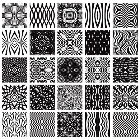 Set of 25 black and white geometric seamless patterns, vector backgrounds collection. 向量圖像