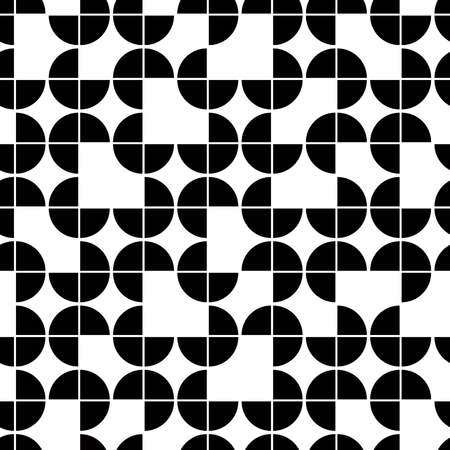 Seamless geometric pattern with monochrome elements, vector abstract background.