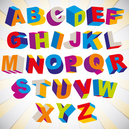 3D font, bold psychedelic colorful alphabet, vector.