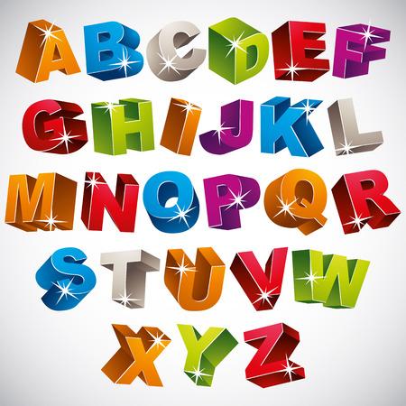 3D font, bold colorful alphabet, vector. Illustration