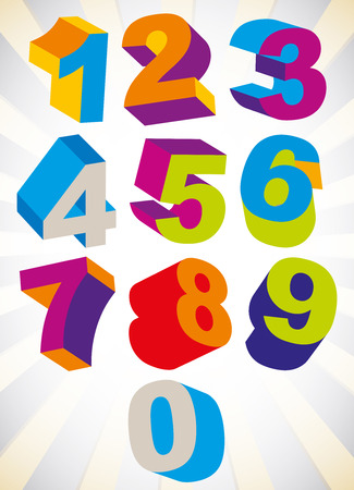 3D colorful bold numbers vector set, psychedelic colors trendy style. Illustration