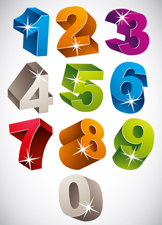 3D colorful bold numbers vector set, happy childish style. 矢量图像