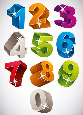 numero uno: Colorido conjunto de números en negrita vector 3D, el estilo infantil feliz.