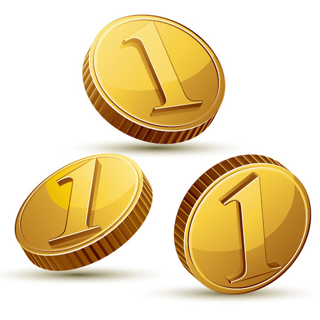 golden coins: Coin icon set isolated on white background, vector.