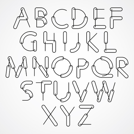 verbs: Weird constructor font, vector alphabet letters, black and white version. Illustration