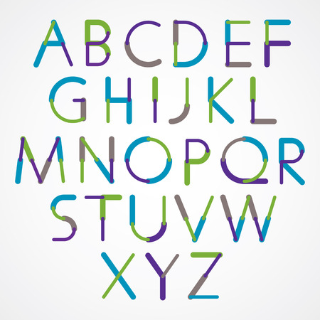 sans: Blue-green font created with circles and lines, vector alphabet design. Illustration