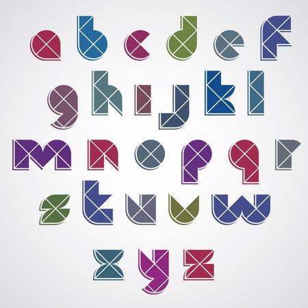 serif: Digital style simple geometric font made with rhombuses, vector modern alphabet. Sans serif, lowercase letters, vector set.