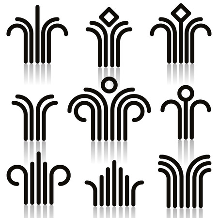 simplistic icon: Abstract symbols set, single color, vector.