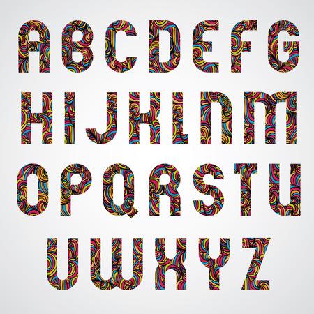 papier lettre: Trendy conception des lettres de l'alphabet d�cor� avec motif dessin� belle main color�, conception de vecteur. Illustration