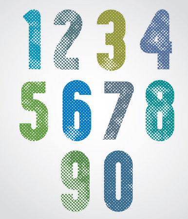 Halftone print dots textured numbers with rounded corners, grunge aged macro style, bold poster numerals design. Vector. Vector