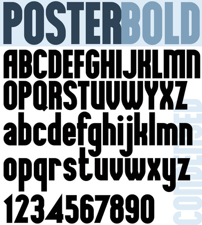 font: Poster Bold Classic style font, black condensed letters alphabet.
