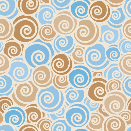 Funny trendy curls seamless pattern, vector background. Vector