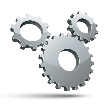 pictogramme: 3 gears 3d vector icon isolated on white background. Illustration