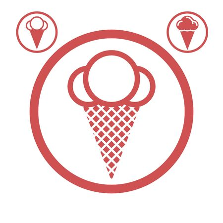 softcream: Ice cream icon, includes additional versions. Illustration