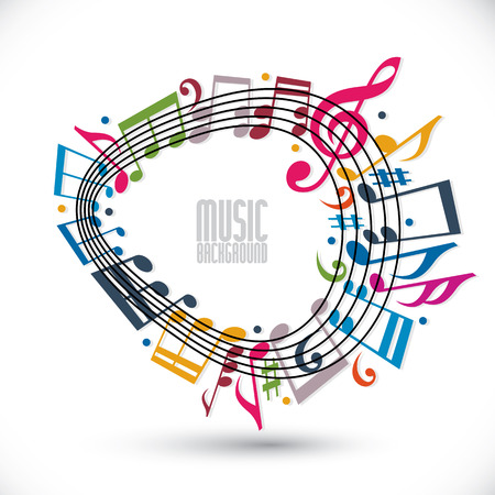 Colorful music background with clef and notes, music sheet in rounded frame  Vector