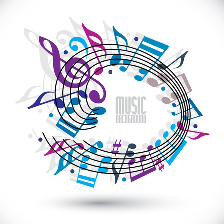 Blue and violet music background with clef and notes, music sheet in rounded frame Vector