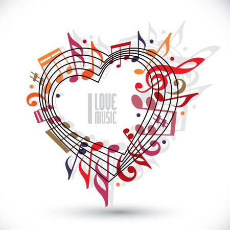 retro music: I love music, heart made with musical notes and clef