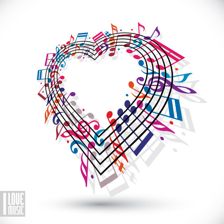 I love music concept. Heart made with musical notes and clef