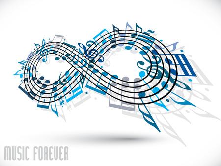 kifejező: Örökre zene koncepció, végtelenség szimbóluma készült kották és tripla hangjegykulcs, kék kifejező forma tervezés