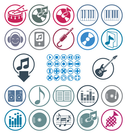 Music icons set, simple single color vector icons set for music and sound. Çizim