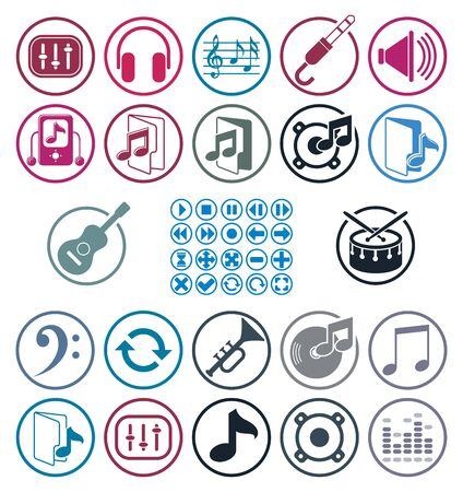 color mixing: Music icons set, simple single color vector icons set for music and sound. Illustration