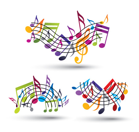 melodic: Musical notes staff set, abstract melodic music symbols, vectors. Illustration