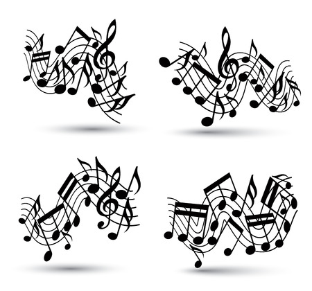 Musical notes staff set, black and white abstract music designs set, vectors. Vector