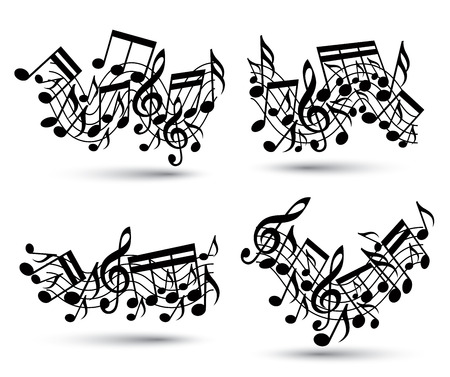 Musical notes staff set. Black and white. Music theme vector abstract designs. Vector