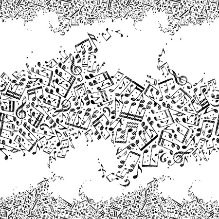 sonata: Music seamless pattern with notes, horizontal composition, black and white vector background. Illustration