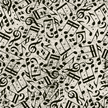 Seamless music background with notes, vector. Vector