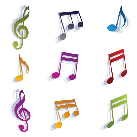 grooves: Musical notes set, vectors.