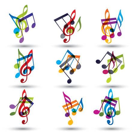 Musical notes abstract icons set, vectors.