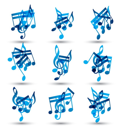 Vector set of musical notes abstract icons. 矢量图像