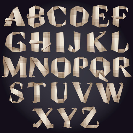 Origami style font, vector paper alphabet. Illustration