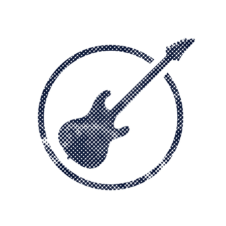 Electric guitar icon with halftone dots print texture.   Vector