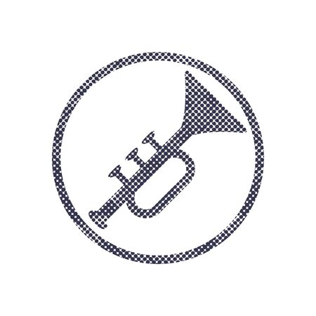 fanfare: Music pipe icon with halftone dots print texture. Macro newspaper style vector symbol.