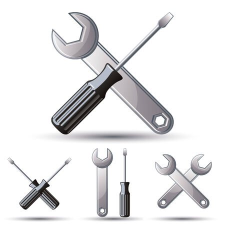 Repair 3d icon set with wrenches and screwdrivers, vector. Illustration