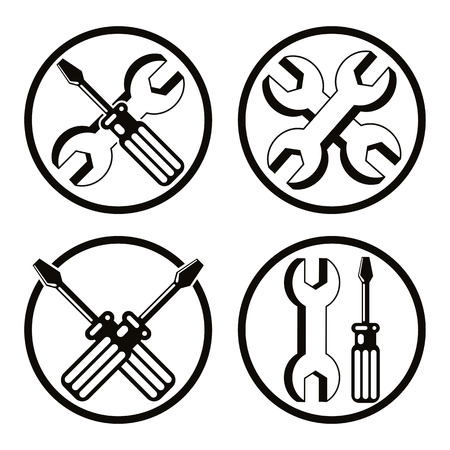 pictogramme: Repair icon set with wrenches and screwdrivers, vector.