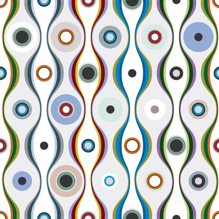 Colorful wavy lines and circles textile seamless pattern, vector background. Vector
