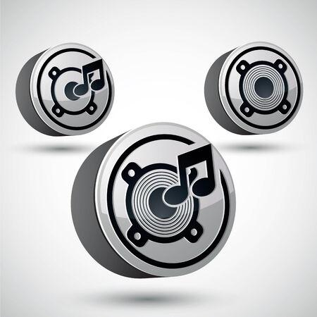 speaker icon: Speaker icon isolated, 3d vector music theme design element, 3 versions set.