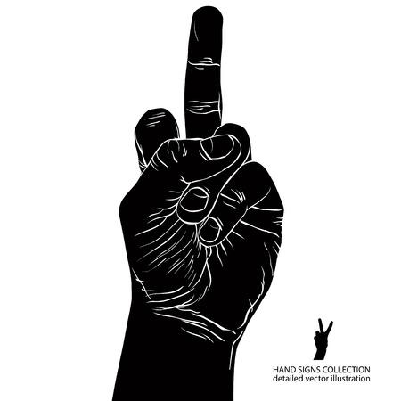 obscene: Middle finger hand sign, detailed black and white vector illustration.