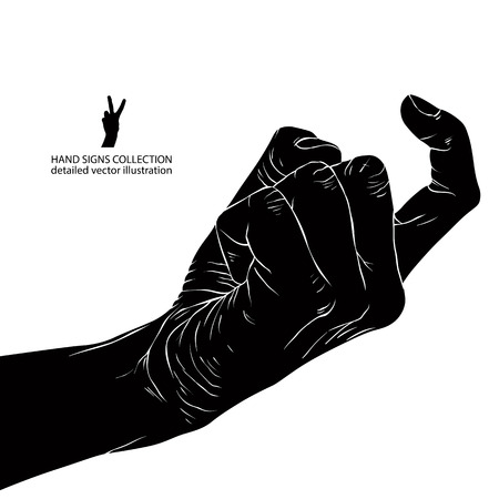 outstretched: Come on hand sign, detailed black and white vector illustration. Illustration