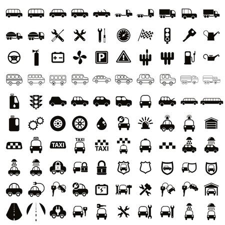 100 car and transport icons, black and white vector set. Illustration