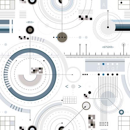 工学ドラフト シームレスなパターンは、壁紙やウェブサイトの幾何学的なベクトルの背景。  イラスト・ベクター素材