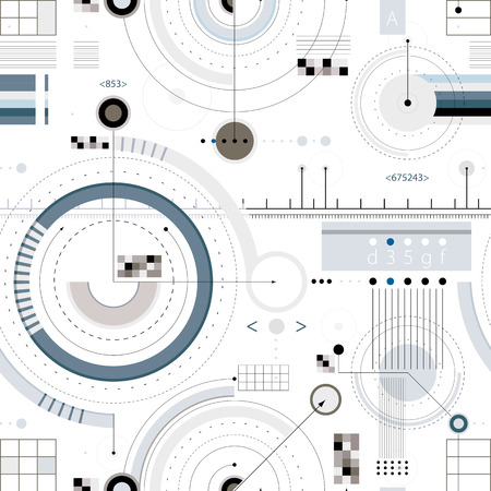 technical drawing: Engineering draft seamless pattern, geometric vector wallpaper or website background.