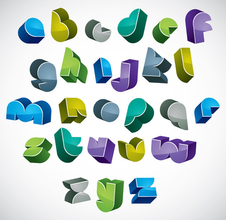 3d colorful letters futuristic alphabet, dimensional geometric font in blue gray and green colors, bright and glossy letters