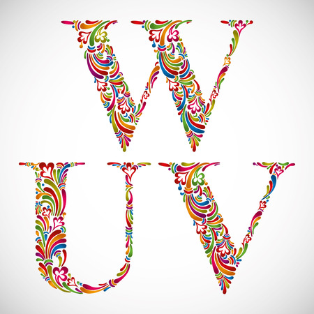 Colorful floral font, ornate alphabet letters U V W, vector. Ilustrace