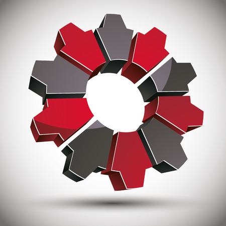 bevel: 3d gear icon with black and red elements, vector. Illustration