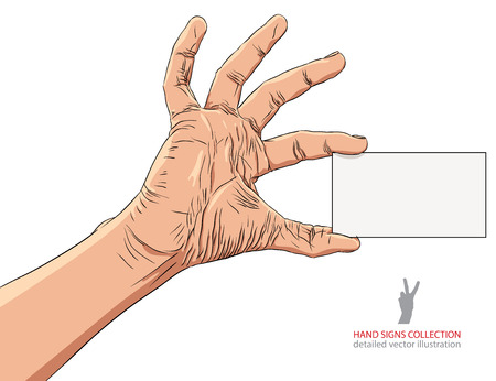 advertize: Hand showing business card, detailed vector illustration.